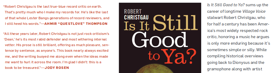 089fc8c5b48 Robert Christgau s Is It Still Good to Ya